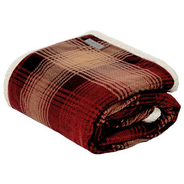 Eddie Bauer Plaid Sherpa Throw