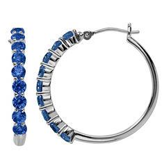 Lab-Created Sapphire Hoop Earrings in Sterling Silver