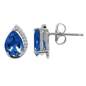 7/5 mm Lab Sapphire and Diamond Accent Earrings in 14K White Gold
