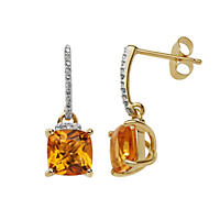 6 mm Citrine and Diamond Accent Earrings in 14K Yellow Gold