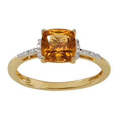 7 mm Citrine and Diamond Accent Ring in 14K Yellow Gold