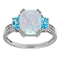 10/8 mm Opal with Blue Topaz and Diamond Accent Ring in Sterling Silver