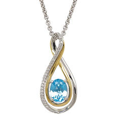 8/6 mm Blue Topaz and Diamond Accent Pendant in Sterling Silver and 14K Yellow Gold