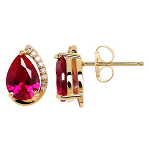7/5 mm Lab Ruby and Diamond Accent Earrings in 14K Yellow Gold