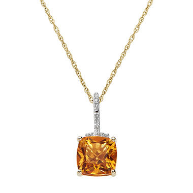 7 mm Citrine and Diamond Accent Pendant in 14K Yellow Gold