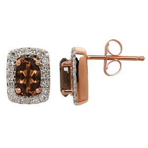 6/4 mm Smoky Quartz and .19 ct. t.w. Diamond Earrings in 14K Rose Gold