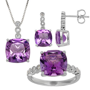 Amethyst and .18 ct. t.w. Diamond Pendant, Earring and Ring Set in Sterling Silver