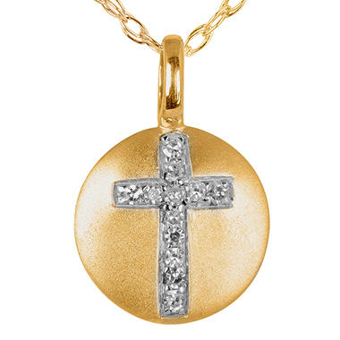 Diamond Cross Disc Pendant in 14K Yellow Gold
