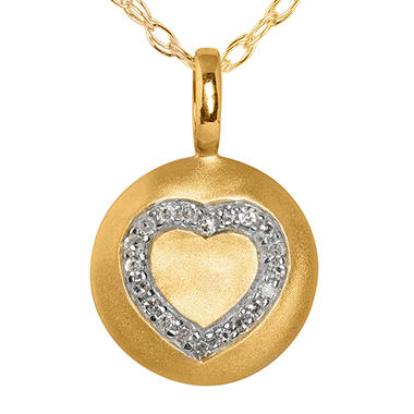 Diamond Heart Disc Pendant in 14K Yellow Gold