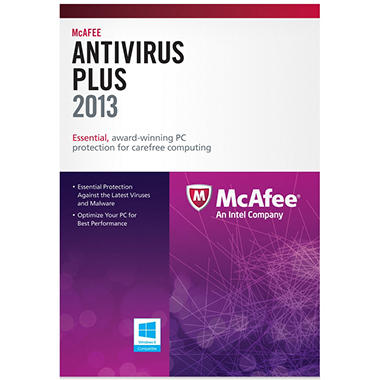 McAfee AntiVirus Plus 2013 3U PC Security Software