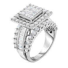2.95 ct. t.w. Princess and Round Cut Diamond Diamond Ring in 14K White Gold (I, I1)