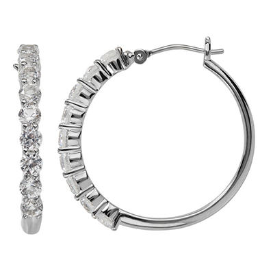 Lab-Created White Sapphire Hoop Earrings in Sterling Silver