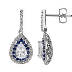 1.95 ct. Lab-Created Blue Sapphire and White Sapphire Earrings in Sterling Silver