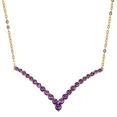 Amethyst V-Shaped Necklace in 14K Yellow Gold