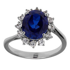 10/8 mm Lab-Created Blue Sapphire and White Sapphire Ring in Sterling Silver