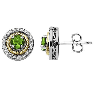 Peridot and Diamond Accent Birthstone Earrings in Sterling Silver and 14K Yellow Gold