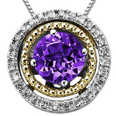 Amethyst and Diamond Pendant in Sterling Silver & 14K Yellow Gold
