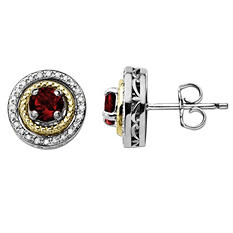 Garnet and Diamond Accent Birthstone Earrings in Sterling Silver and 14K Yellow Gold