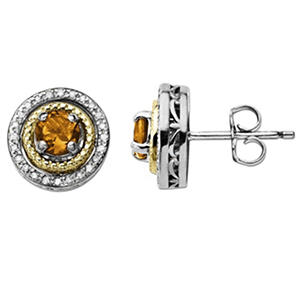 Citrine and Diamond Accent Birthstone Earrings in Sterling Silver and 14K Yellow Gold