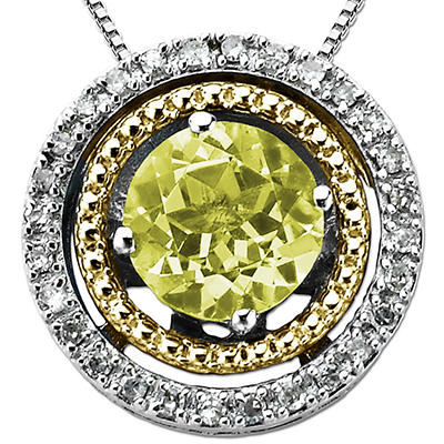 Peridot and Diamond Accent Birthstone Pendant in Sterling Silver and 14K Yellow Gold