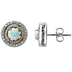 Opal and Diamond Accent Birthstone Earrings in Sterling Silver and 14K Yellow Gold