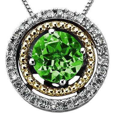 Created Emerald and Diamond Accent Birthstone Pendant in Sterling Silver and 14K Yellow Gold