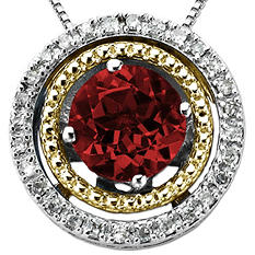 Garnet and Diamond Accent Birthstone Pendant in Sterling Silver and 14K Yellow Gold