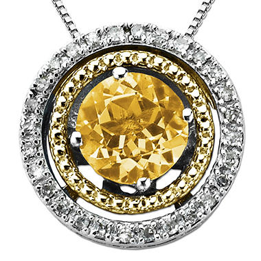 Citrine and Diamond Accent Birthstone Pendant in Sterling Silver and 14K Yellow Gold