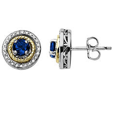 Created Sapphire and Diamond Accent Birthstone Earrings in Sterling Silver and 14K Yellow Gold