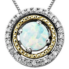 Opal and Diamond Accent Birthstone Pendant in Sterling Silver and 14K Yellow Gold