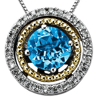 Licensed Blue Topaz and Diamond Accent Birthstone Pendant  in Sterling Silver and 14K Yellow Gold