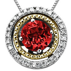 Created Ruby and Diamond Accent Birthstone Pendant in Sterling Silver and 14K Yellow Gold