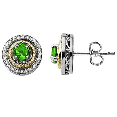 Created Emerald and Diamond Accent Birthstone Earrings in Sterling Silver and 14K Yellow Gold