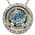 Aquamarine and Diamond Accent Birthstone Pendant in Sterling Silver and 14K Yellow Gold