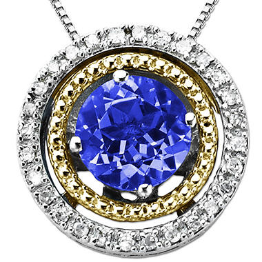 Created Sapphire and Diamond Accent Birthstone Pendant  in Sterling Silver and 14K Yellow Gold