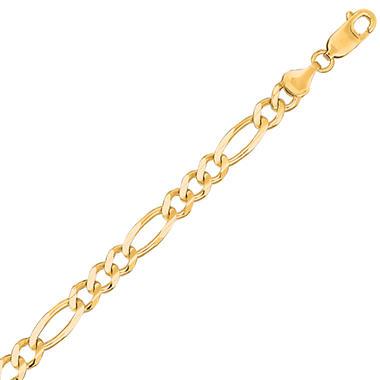 14 Karat Yellow Gold Solid Figaro Link Bracelet - 8.5