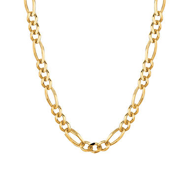 14 Karat Yellow Gold Solid Figaro Link Necklace - 22