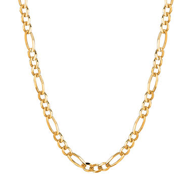 14 Karat Yellow Gold Solid Figaro Link Necklace - 20