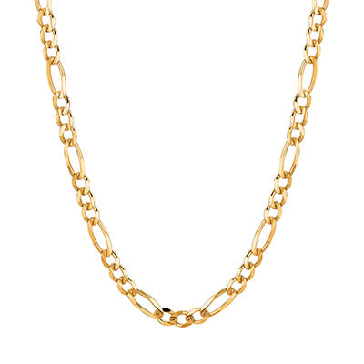 14 Karat Yellow Gold Solid Figaro Link Necklace - 20""