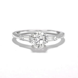 Premier Diamond Collection 1.34 CT. Round Brilliant Engagement Ring with Tapered Baguettes in 14K White Gold E-F, SI2-I1 (IGI Appraisal Value: $10,790)