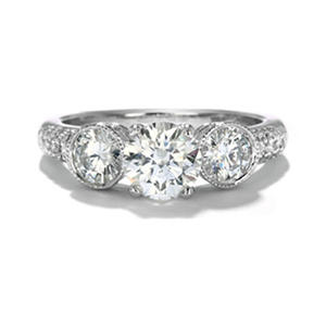Premier Diamond Collection 2.12 CT. Round Three-Stone Engagement Ring with Pave Band in 18K White Gold G, SI2 (IGI Appraisal Value: $14,060)