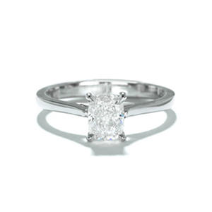 Premier Diamond Collection 1.01 CT. Cushion Solitaire Engagement Ring in 18K White Gold (I, SI1)