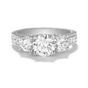 Premier Diamond Collection 2.77 CT. Round Three-Stone Engagement Ring in 14K White Gold (G, SI2)