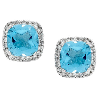 Blue Topaz and Diamond Accent Earrings in 14K White Gold (I, I1)