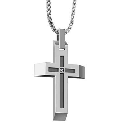 Diamond Accent Cross Pendant in Stainless Steel