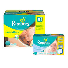Pampers Swaddlers Economy Pack Diaper and Wipe Bundle (Choose Your Size)