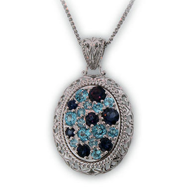 Iolite and Blue Topaz Pendant in Sterling Silver
