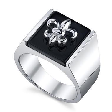 Sterling Silver Black Agate Fleur De Lis Ring