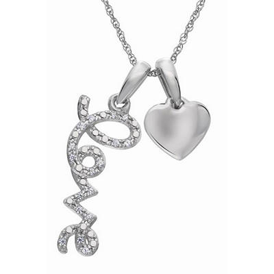 "0.05 CT. TW. Diamond ""Love"" Script Pendant in 14K White Gold (H-I, I1)"