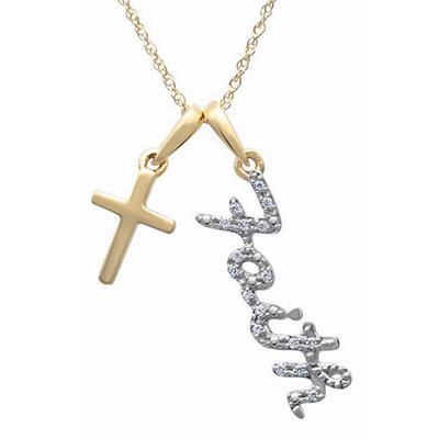"0.05 CT. TW. Diamond ""Faith"" Script Pendant in 14K Yellow Gold (H-I, I1)"